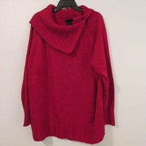 Lane Bryant Red Sweater Plus Size 26/28 Cowl Drape